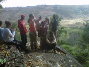 The group is having fun on top of the hyena cave.