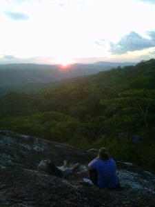 Joanna and Scott watch the sun drop on Sunset Rock.